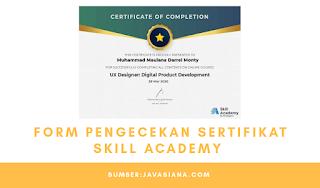 Form Pengecekan Sertifikat Skill Academy