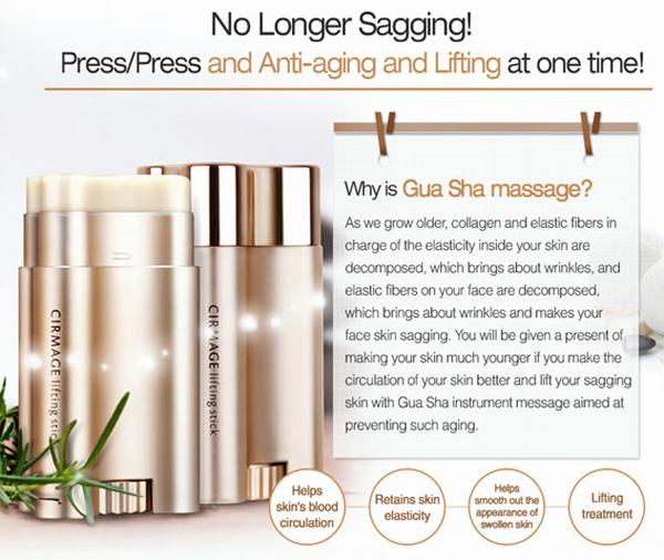 Gua Sha facial massage with Cirmage Lifting Stick