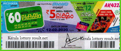 Kerala Lottery Result 12-02-2020 Akshaya AK-432 (keralalotteryresult.net)