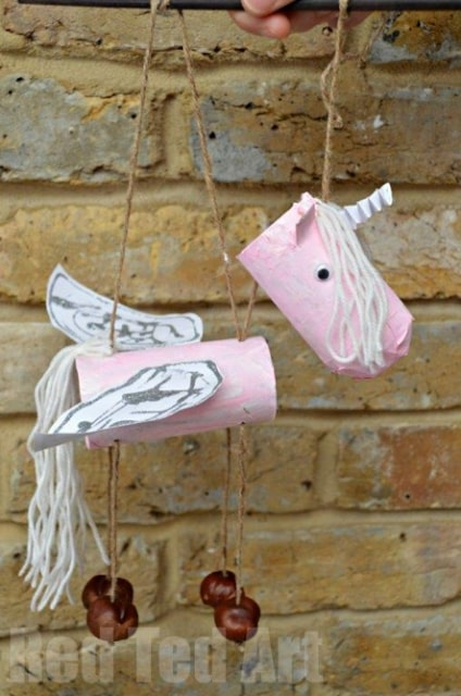 How to make a recycled unicorn puppet from cardboad tubes