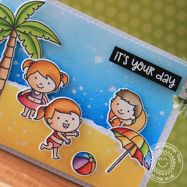 Sunny Studio Stamps: Beach Babies Island Getaway Beach Scene Card by Eloise Blue