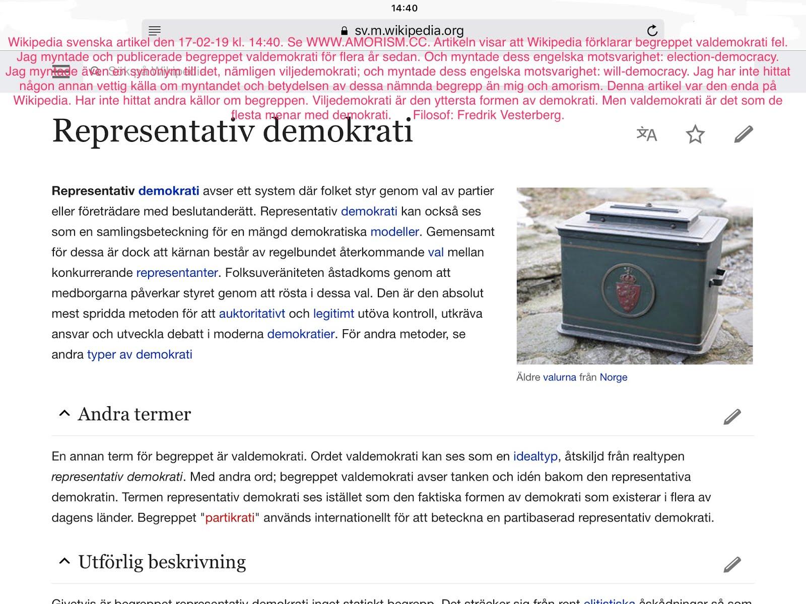 Bild på definition av valdemokrati. Bild på definition av viljedemokrati