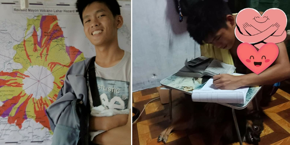 Civil Engineer board exam Top 2 studies using only a small table with his pet dog