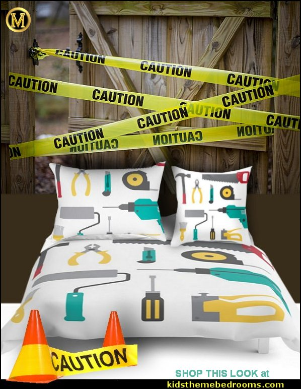 tools bedding Tools pillows tools comforter construction zone bedroom decor construction bedroom decorating  hazard tape wall decorations