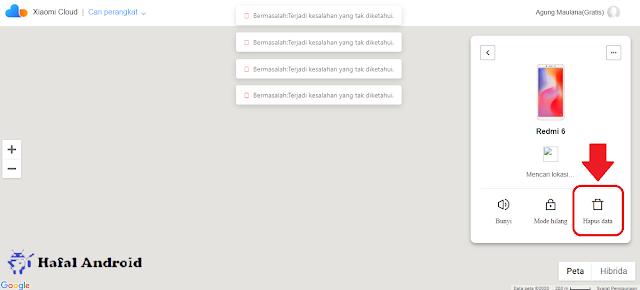Klik Hapus Data di Perangkat Xiaomi yang Terpilih