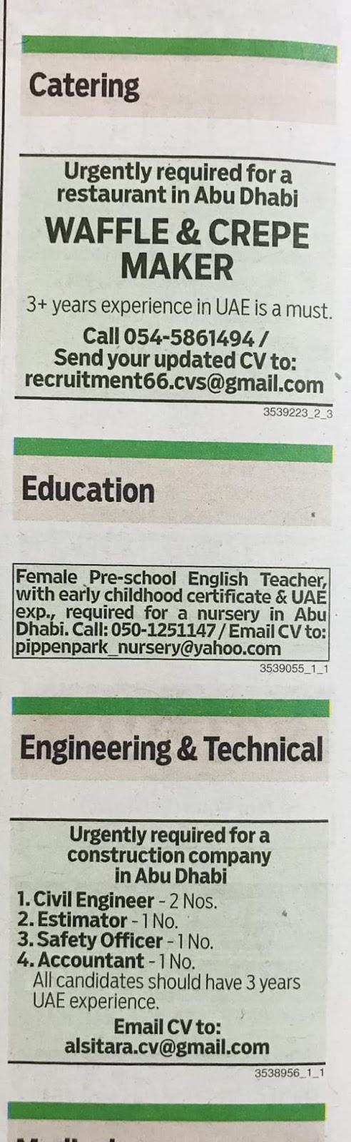 Required for Dubai Local Hiring Jobs Khaleej Times-UAE-0311924- Jobs