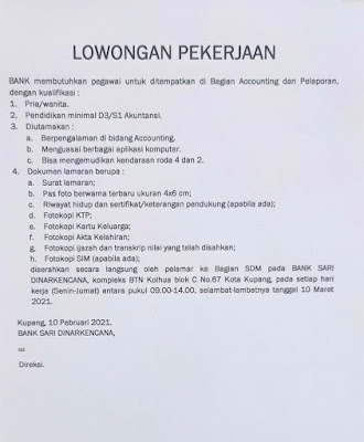 Loker Kupang Bank Sari Dinarkencana Sebagai Accounting dan Pelaporan
