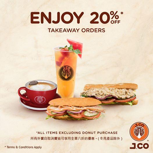 J.CO Donuts & Coffee: 外賣自取八折優惠