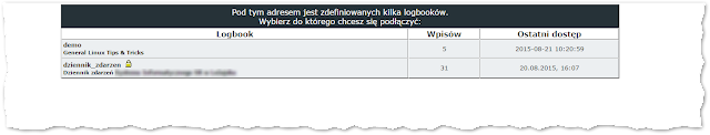 Wybieranie logbooka (choose logbook)