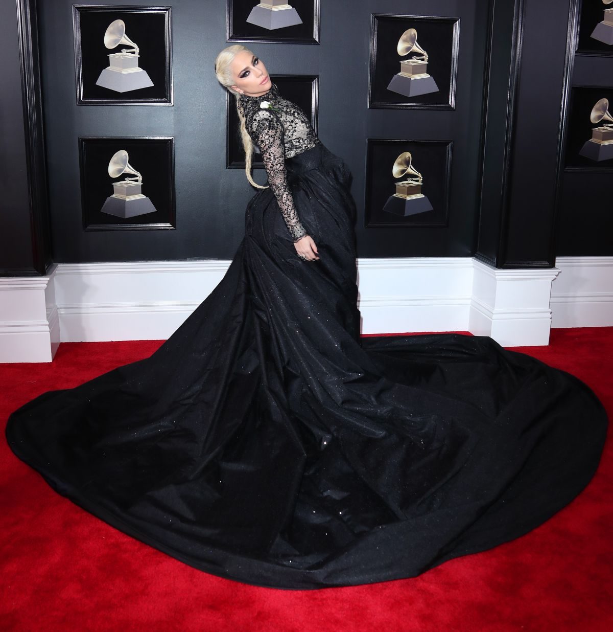 Lady Gaga flaunts dramatic ballgown at the 2018 Grammy Awards