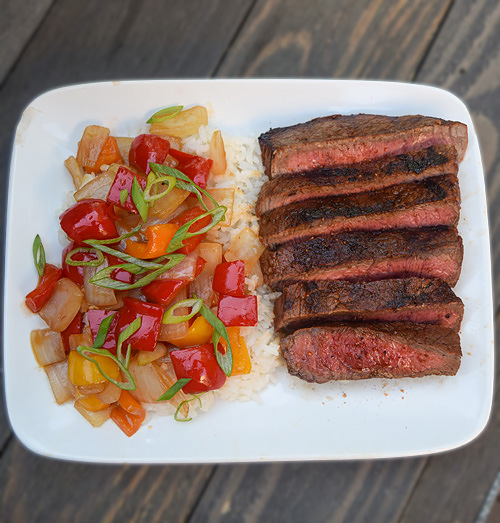 Grilled Sirloin Steak with Sweet and Sour Vegetables recipe on the Big Green Egg