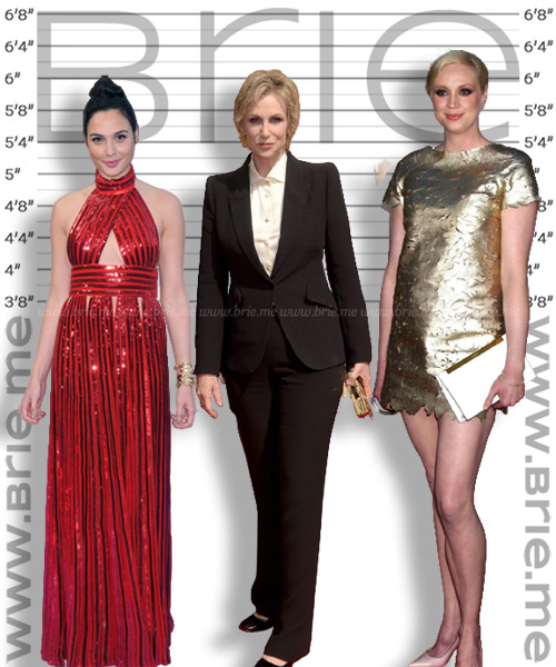 Jane Lynch height comparison with Gal Gadot and Gwendoline Christie