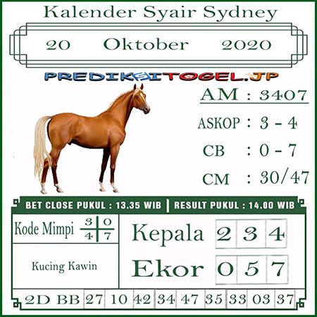 Kalender Prediksi Sidney Selasa 20 Oktober 2020