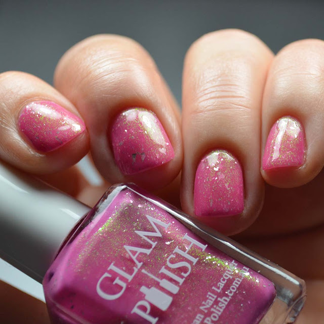 pink nail polish with shimmer swatch