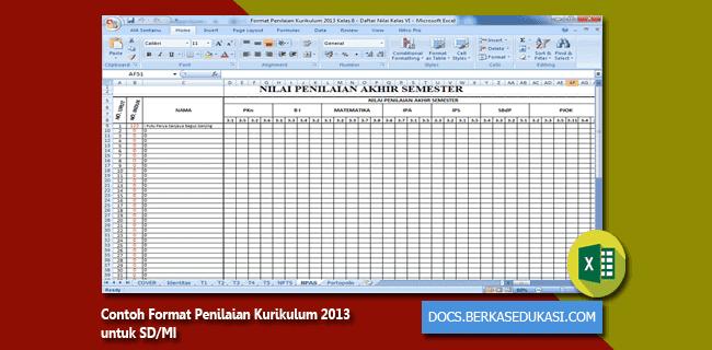 Contoh Format Penilaian Kurikulum 2013 untuk SD-MI