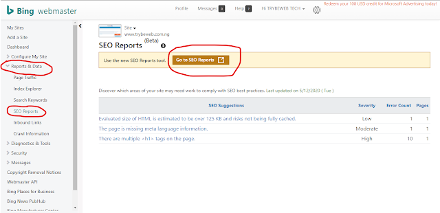 Bing Site Scan Free SEO Tool