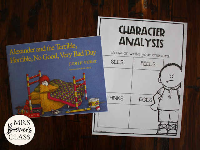 Alexander and the Terrible Horrible No Good Very Bad Day book study activities unit with Common Core aligned literacy companion activities and a craftivity for First Grade and Second Grade