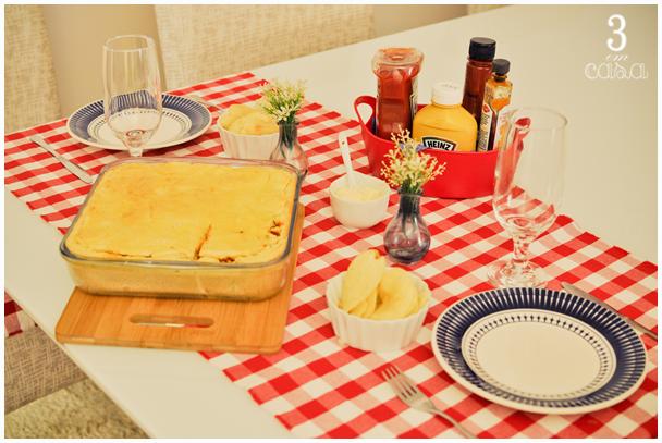 mesa para cachorro quente de forno