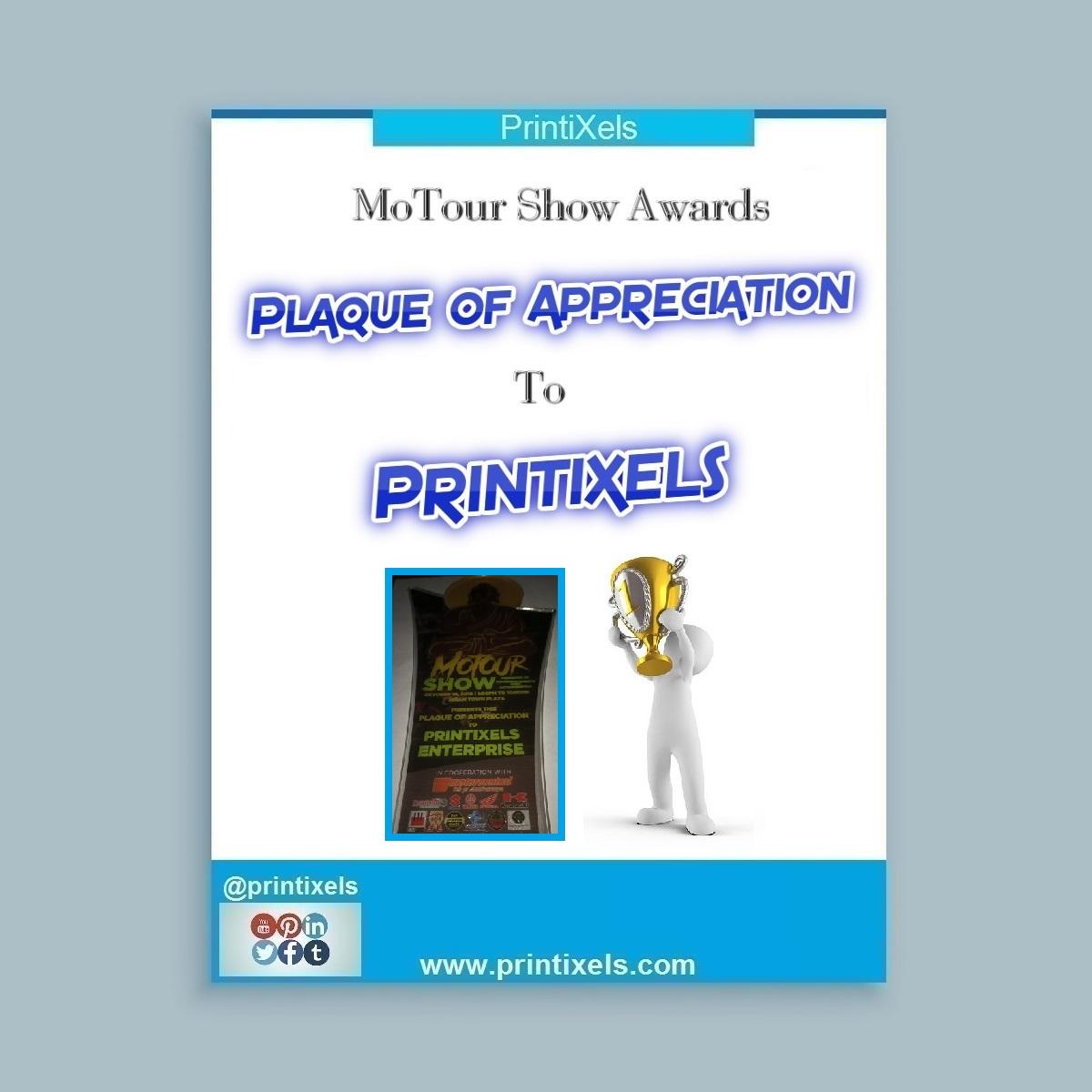 MoTour Show Awards Plaque of Appreciation to Printixels