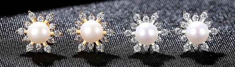 閃耀太陽淡水真珍珠鋯石耳環