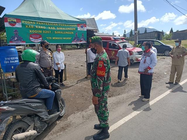 Perbatasan Kab Karo-Kab Simalungun Dijaga Ketat Oleh Personel Jajaran Kodim 0207/Simalungun