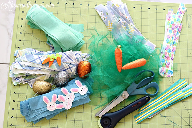 pinking, shears, tulle, ribbon, fabric, cutting mat, Easter, Eggs athomewithjemma.com