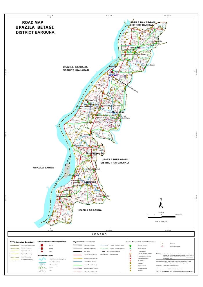 Betagi Upazila Road Map Barguna District Bangladesh