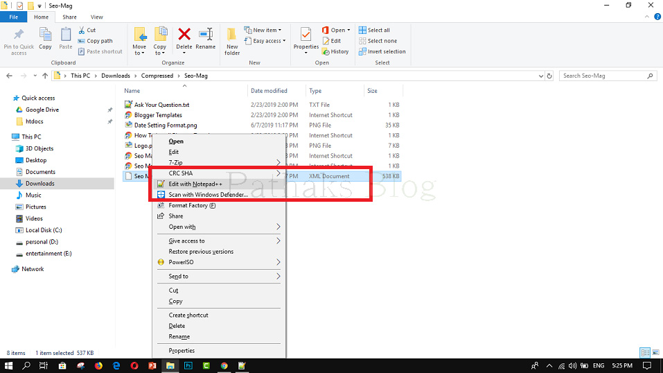 How To Upload Custom Template To Blogger, XML File open with Notepad, anil pathak, pathaks blog