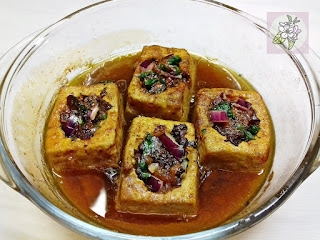 Tofu Relleno al Estilo Chino. Horneado.