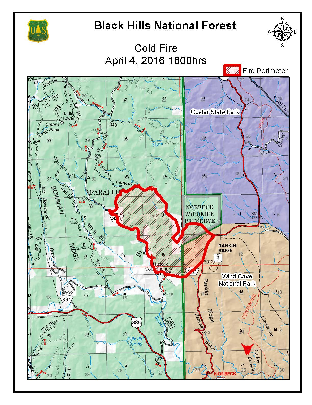 the cold fire started on april 2 2016 4 miles east of pringle sd near highway 87