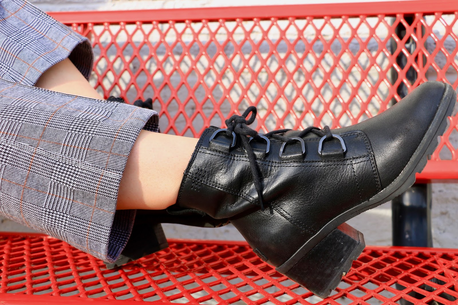 Nyc fashion blogger Kathleen Harper's black Sorel lace-up combat boots.