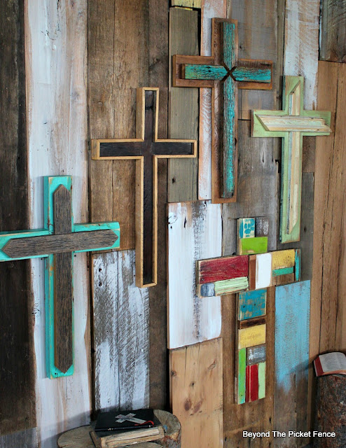 reclaimed wood, rustic cross, salvaged, spring decor, barnwood, Christian, http://bec4-beyondthepicketfence.blogspot.com/2016/02/more-rustic-crosses-and-finding-waldo.html