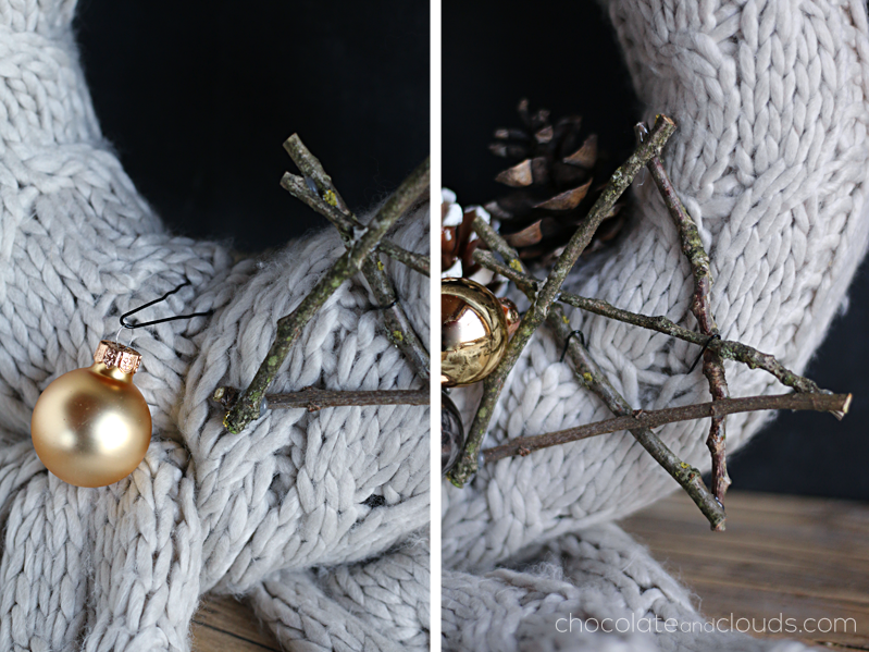 knitted scarf wreath diy