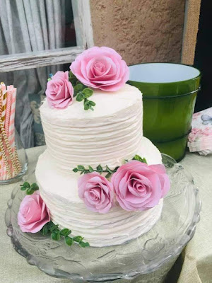 bridal shower cake with paper roses