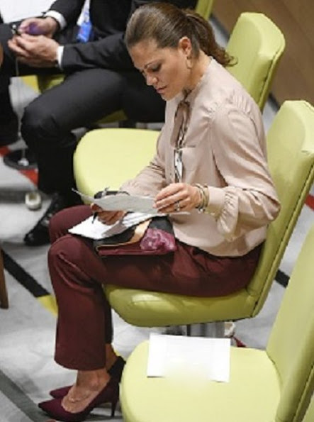 Crown Princess Victoria wore By Malene Birger Aurelisa Trousers, & Other Stories Scuba Leather Clutch, RIZZO Azelia Suede Pumps