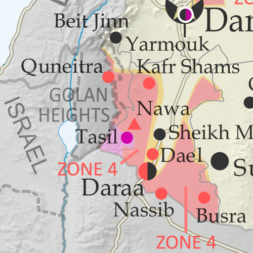 Map of Syrian Civil War (Syria control map): Fighting and territorial control in Syria in January 2018 (Free Syrian Army rebels, Kurdish YPG, Syrian Democratic Forces (SDF), Jabhat Fateh al-Sham / Hayat Tahrir al-Sham (Al-Nusra Front), Islamic State (ISIS/ISIL), and others). Includes Russia-Turkey-Iran agreed de-escalation zones and US deconfliction zone, plus recent locations of conflict and territorial control changes, such as Abu al-Duhur, Beit Jinn, Rahjan, and more. Colorblind accessible.