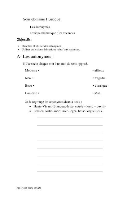 consolidation 1er semaine unite 2 6aep دعم اللغة الفرنسية المستوى السادس