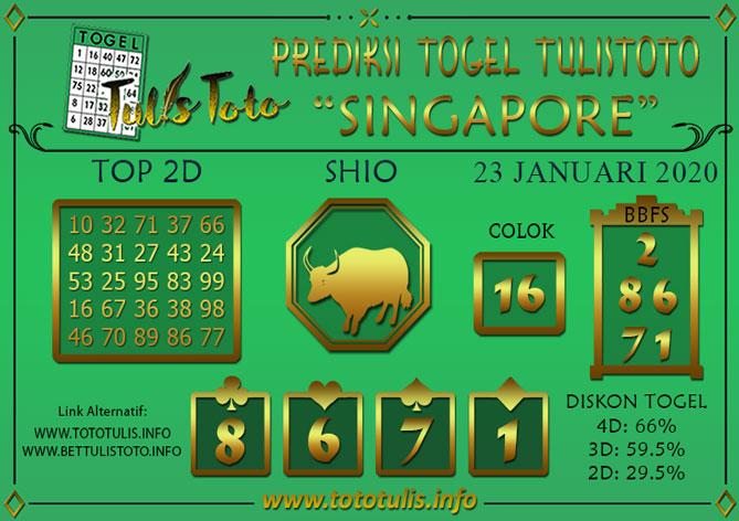 Prediksi Togel SINGAPORE TULISTOTO 23 JANUARI 2020