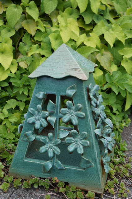 Green floral clematis pottery stoneware garden lantern by Lily L.