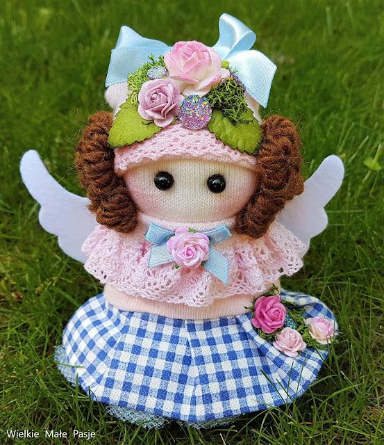 sock doll, sock angel, skarpetowa lalka, lalka ze skarpetki, anioł, aniołek, angel, lalka ręcznie szyta