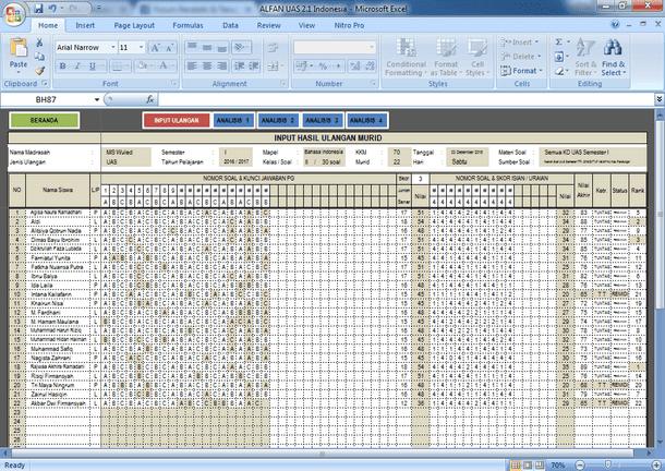 Aplikasi Analisis Kwantitatif Soal Ulangan Format Microsoft Excel