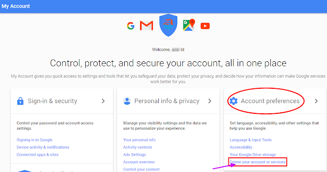 delete gmail account preferences