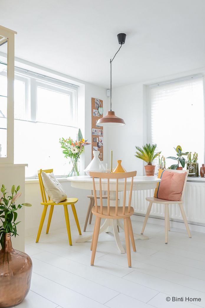 comedor colores pastel- panel de corcho y muchas plantas