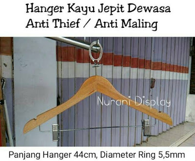 hanger kayu jepit anti theft