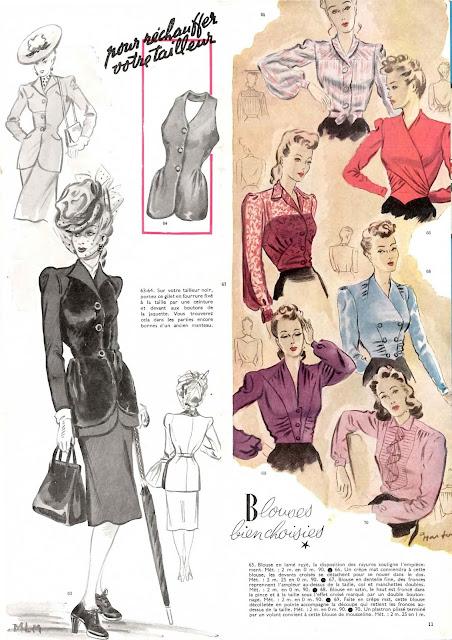 magazine mode et travaux octobre 1942 pour réchauffer votre tailleur
