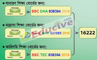 ssc exam results sms format