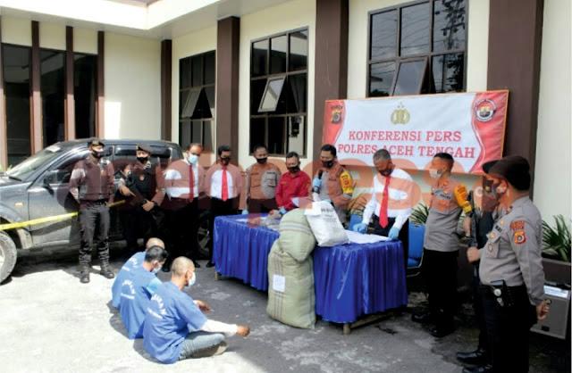 24 Kg Ganja Kering Di Amankan Polres Aceh Tengah,  3 Pelaku Di Tahan di Rutan Polres