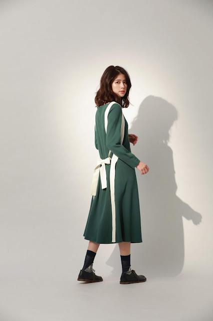 月光之城有機棉綁帶長洋裝-綠茶籽
