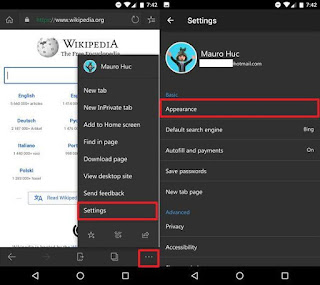 Microsoft Edge on Android Settings