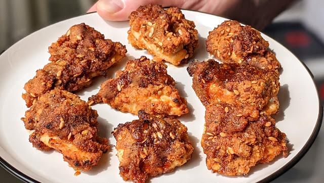 recette, poulet frit, poulet coréen, au four, poulet au four, vidéo, étape par étape